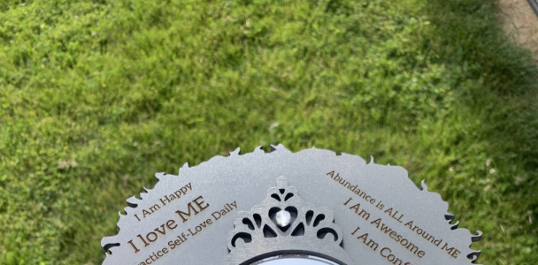Crown Girl    Affirmation Mirror ~ Custom Engraved Empowerment Gifts for Positivity, Self Love and Self Care    Seasonal, Holiday or Personal Gifts – GRAY MIRROR / Custom Engraved (+ $ 5.00)